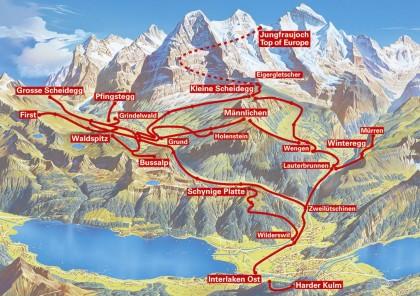 Região de Jungfraujoch, simplificada