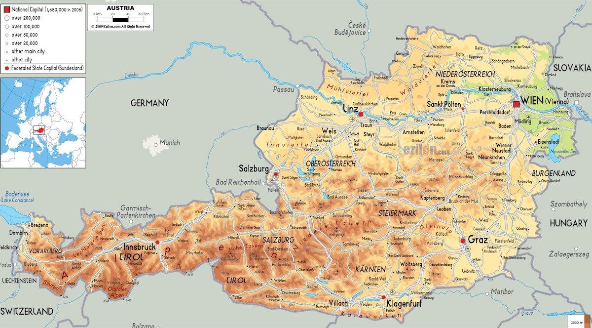 mapa da austria